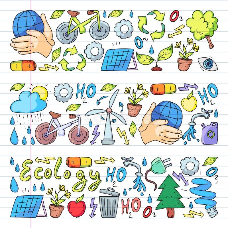 Logo, progettazione e distintivo di vettore nello stile di disegno d'avanguardia - zero concetti dello spreco, ricicli e riutiliz illustrazione di stock