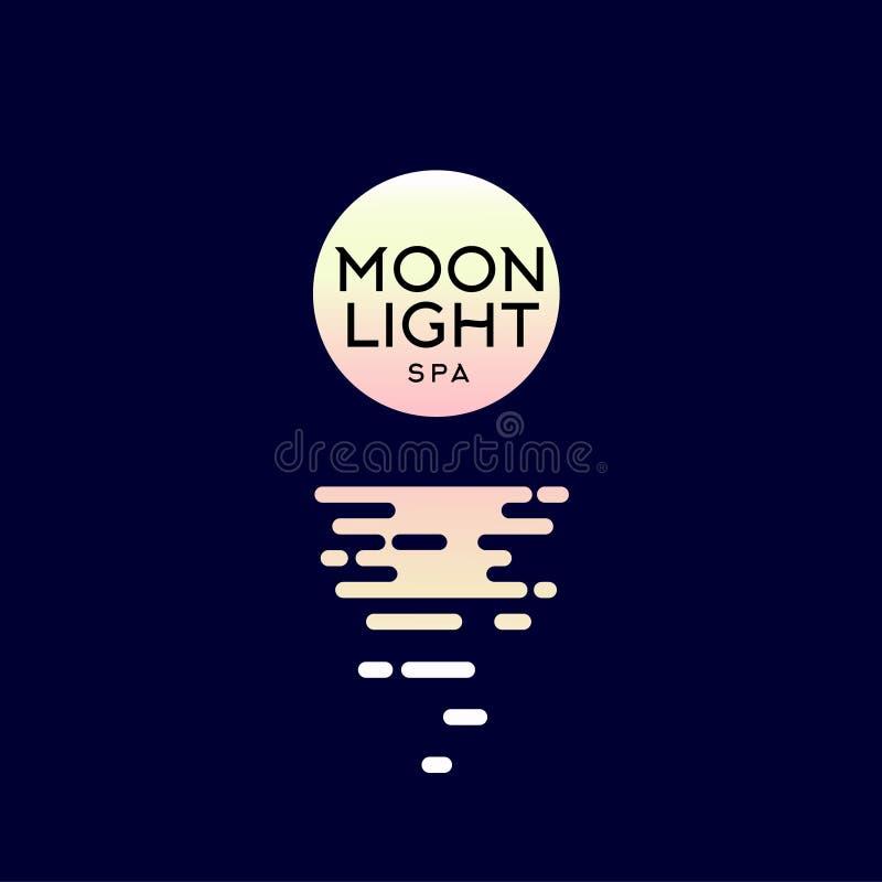 Logo programu Moonlight spa Godła spa w hotelu Księżyc i odbicie w wodzie ilustracji