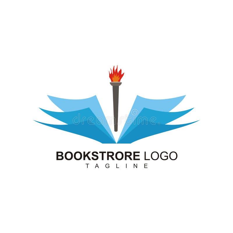Logo projekt dla bookstore z pochodnia ogienia projektem royalty ilustracja