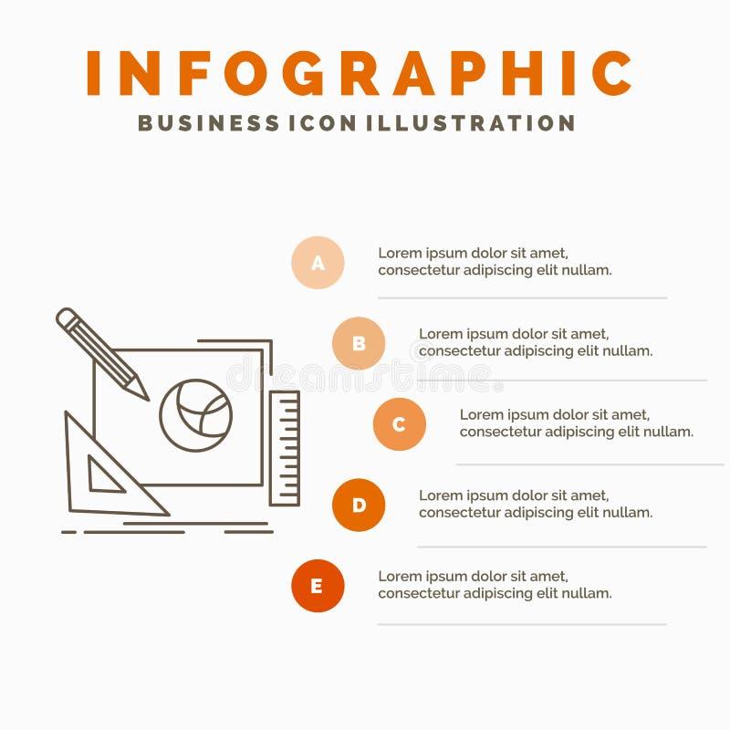 logo, projekt, kreatywnie, pomys?, projekta procesu Infographics szablon dla strony internetowej i prezentacja, Kreskowa Szara ik royalty ilustracja