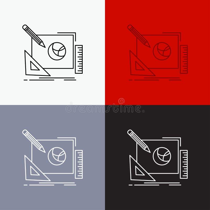 logo, projekt, kreatywnie, pomys?, projekta procesu ikona Nad R??norodnym t?em Kreskowego stylu projekt, projektuj?cy dla sieci i royalty ilustracja