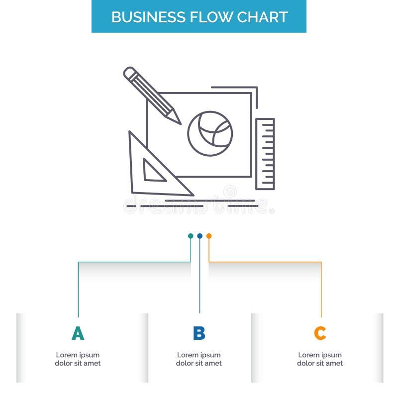logo, projekt, kreatywnie, pomys?, projekta procesu Sp?ywowej mapy Biznesowy projekt z 3 krokami Kreskowa ikona Dla prezentacji t royalty ilustracja