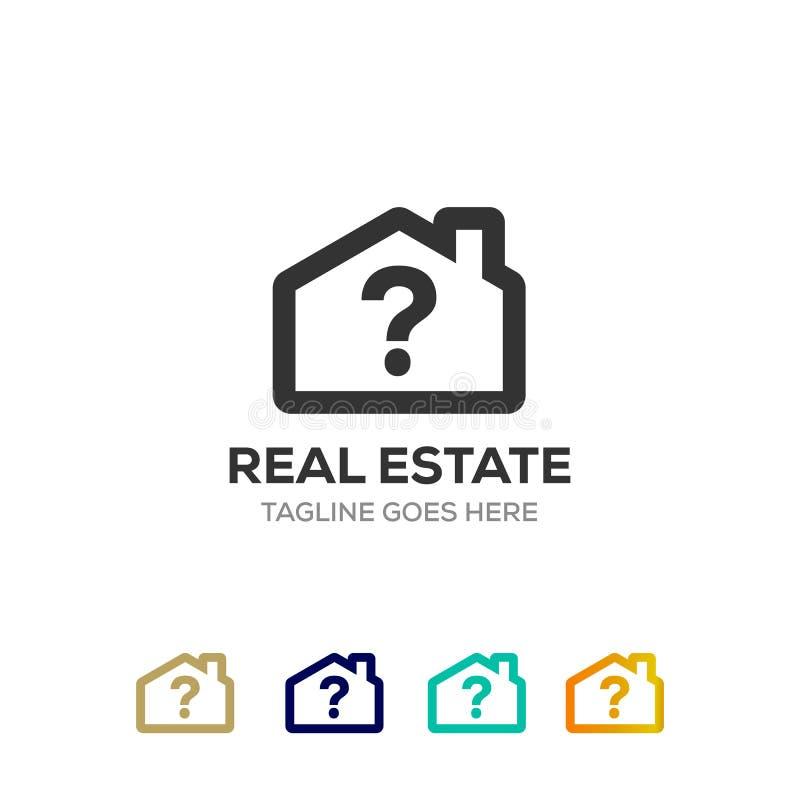 Logo propre de maison pour la société d'investissement immobilier avec le symbole de question illustration de vecteur