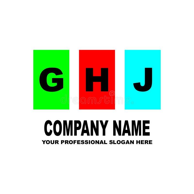logo prosty Trzy listu GHJ lokalizują na trzy oddzielnych kwadratach różni kolory wektor zdjęcie stock