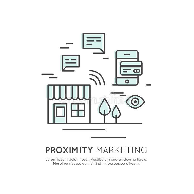 Logo of Proximity Marketing, Public Hotspot Zone Wireless Internet Wi-Fi Free. Sending messages, information and offers to users, royalty free illustration