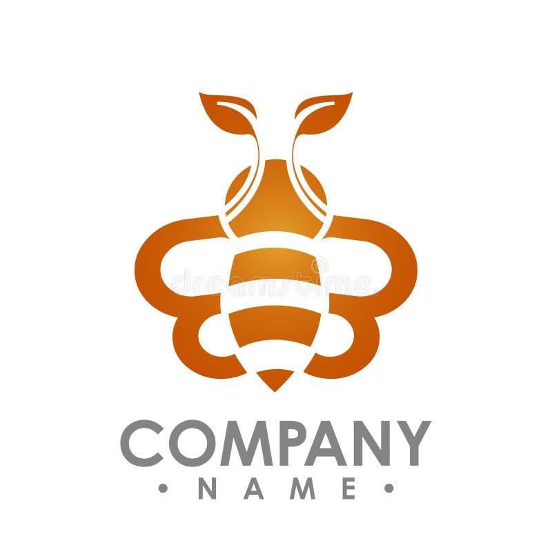 Logo pszczoły abstrakcjonistyczny latanie z pomarańczowego liścia skrzydła loga wektorowym illus ilustracja wektor