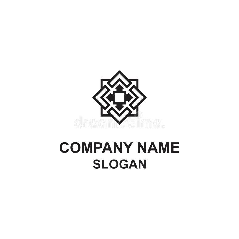 Logo quadrato astratto con una direzione di otto frecce illustrazione di stock