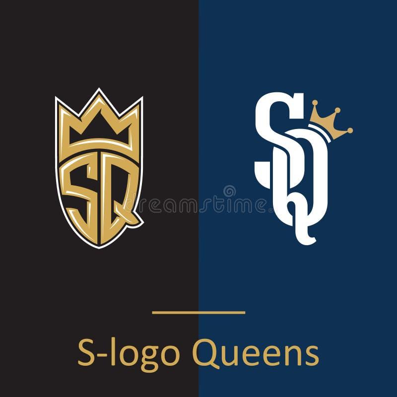 Logo queens SQ listy royalty ilustracja