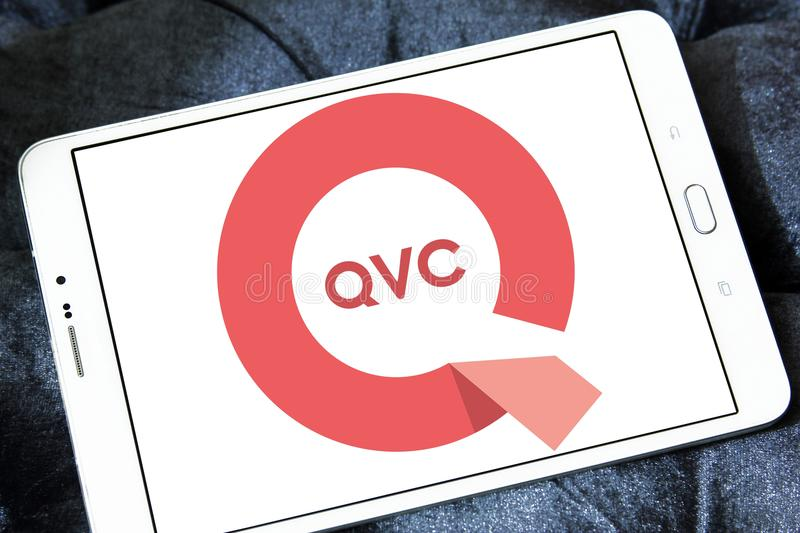QVC company logo. Logo of QVC company on samsung tablet. QVC is an American cable, satellite and broadcast television network, and flagship shopping channel stock photos