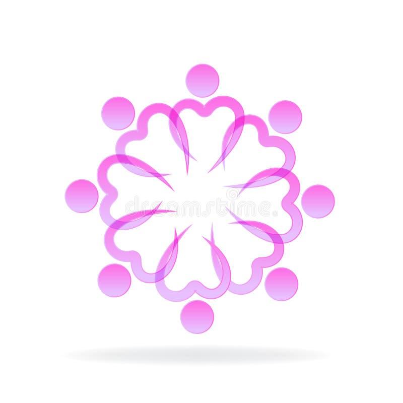 Logo różowej pracy zespołowej miłości menchii kierowi wolontariuszi royalty ilustracja