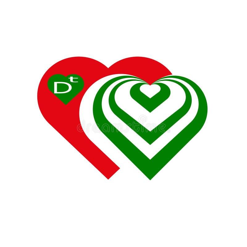 logo Röd gräsplan för hjärta vektor illustrationer