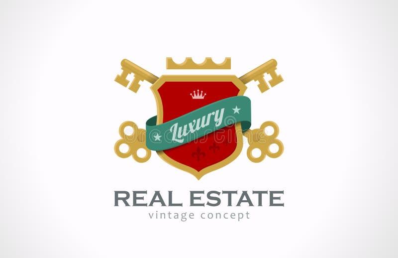 Logo Real Estate Vintage Luxury. Clés et bouclier W illustration stock
