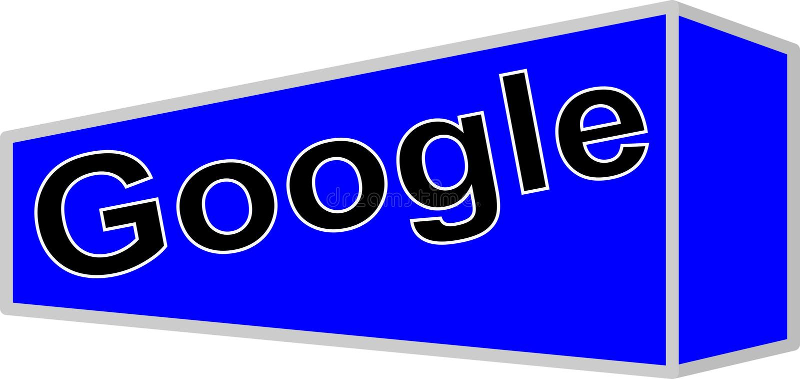 Logo rewizi Google firma na błękitnym tle zdjęcie stock