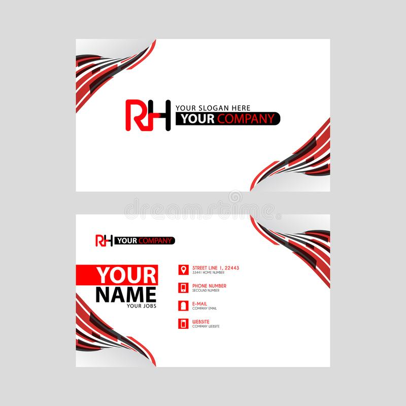 Logo RH design with a black and red business card with horizontal and modern design. Something like Logo RH design with a black and red business card with royalty free illustration