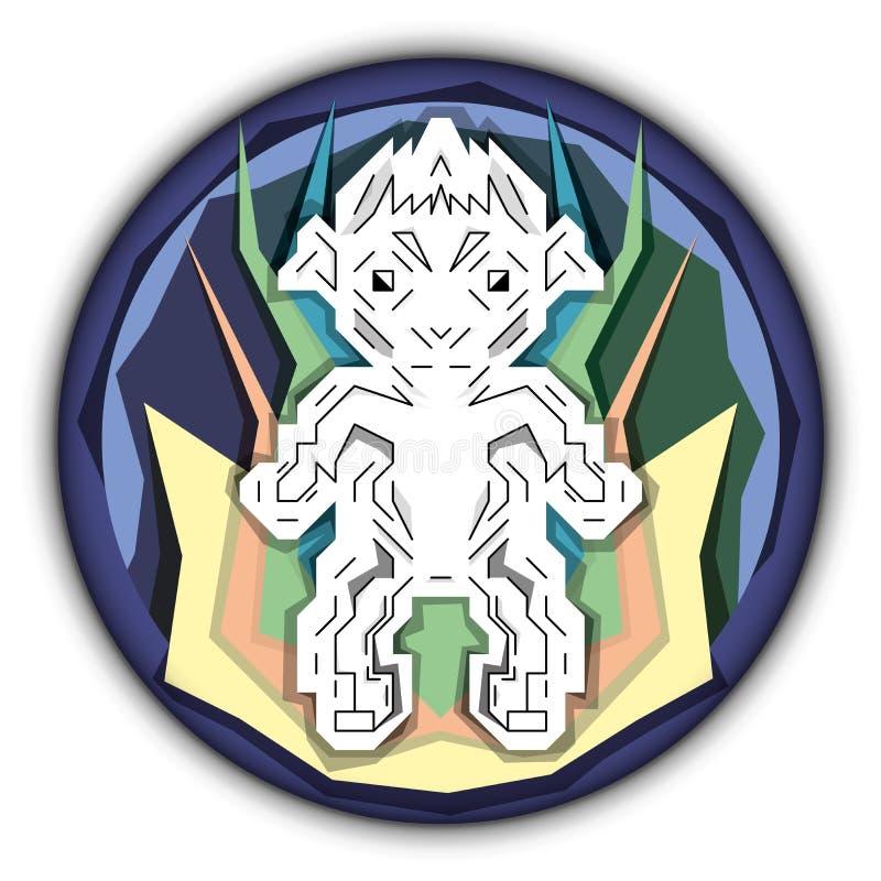 Logo - Robotik - der Vitruvian-Mann vektor abbildung