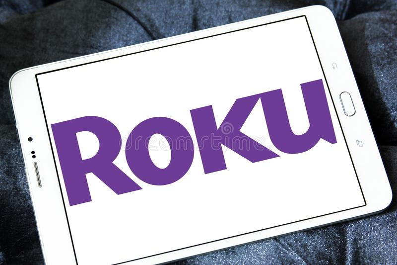 Roku company logo. Logo of Roku company on samsung tablet . Roku is an American publicly traded company that manufactures home digital media products stock images