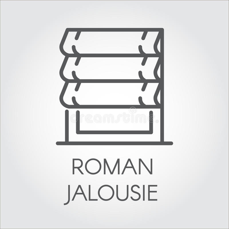Logo of roman jalousie. Label for home and office interior design concept, shop catalog, online shops and other projects vector illustration