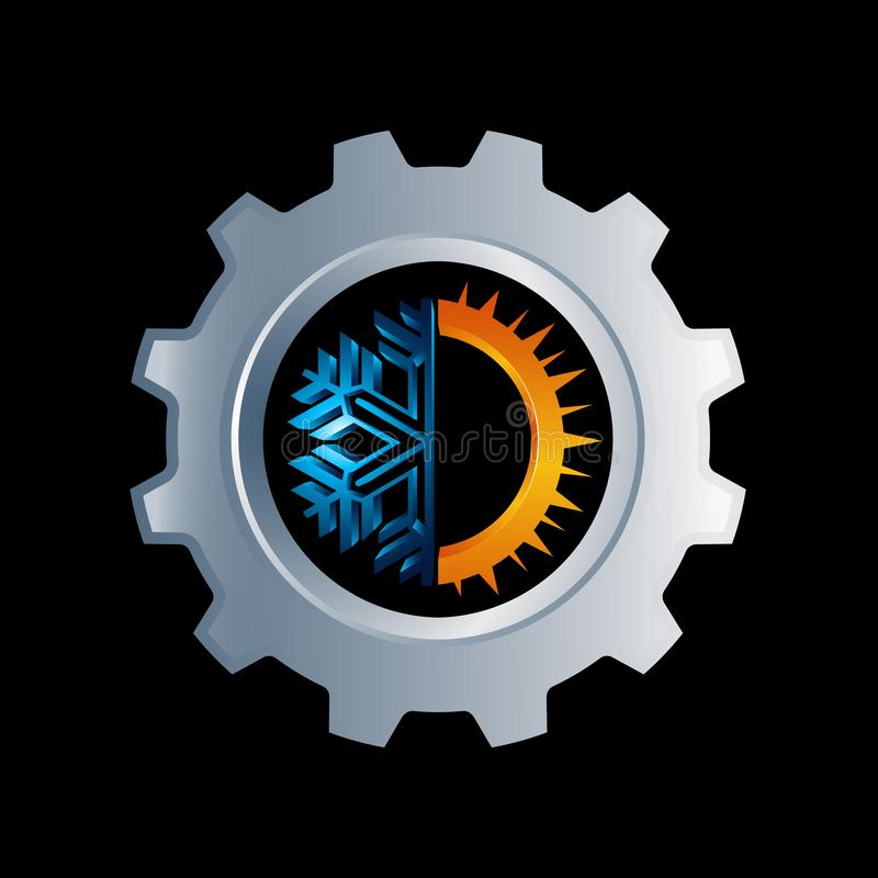 Logo rond chaud et froid de vitesse de signe Icône d'équilibre de la température Sun illustration de vecteur