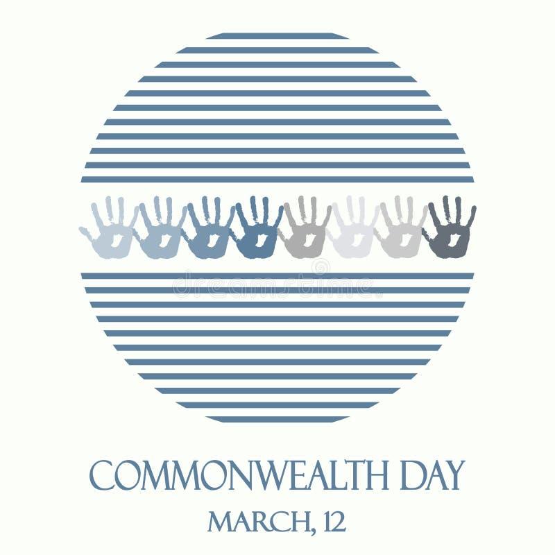 Logo rond d'abrégé sur créatif vecteur avec les rayures bleues pour le jour de Commonwealth illustration de vecteur