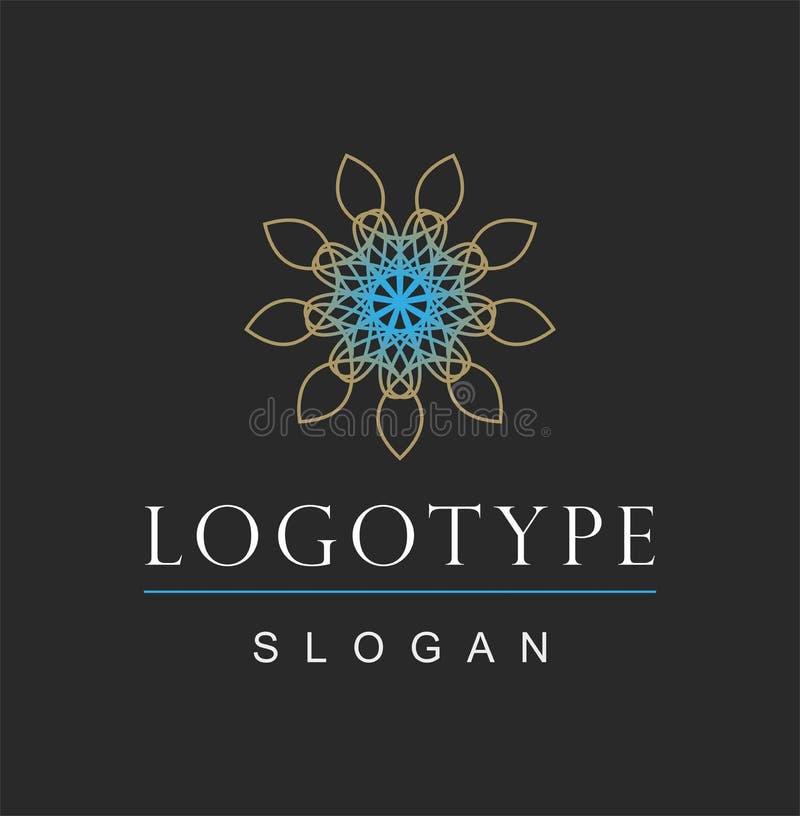 Logo rond d'or de fleur d'abrégé sur infini illustration stock