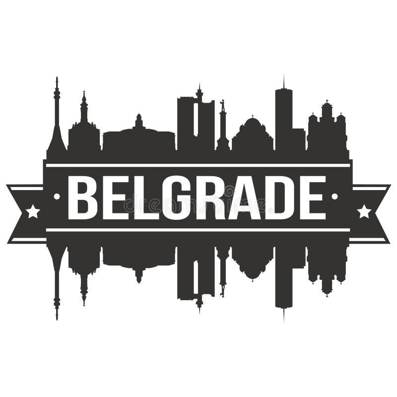 Logo rond de calibre de silhouette de ville d'Art Flat Shadow Design Skyline de vecteur d'icône de Belgrade Serbie illustration de vecteur