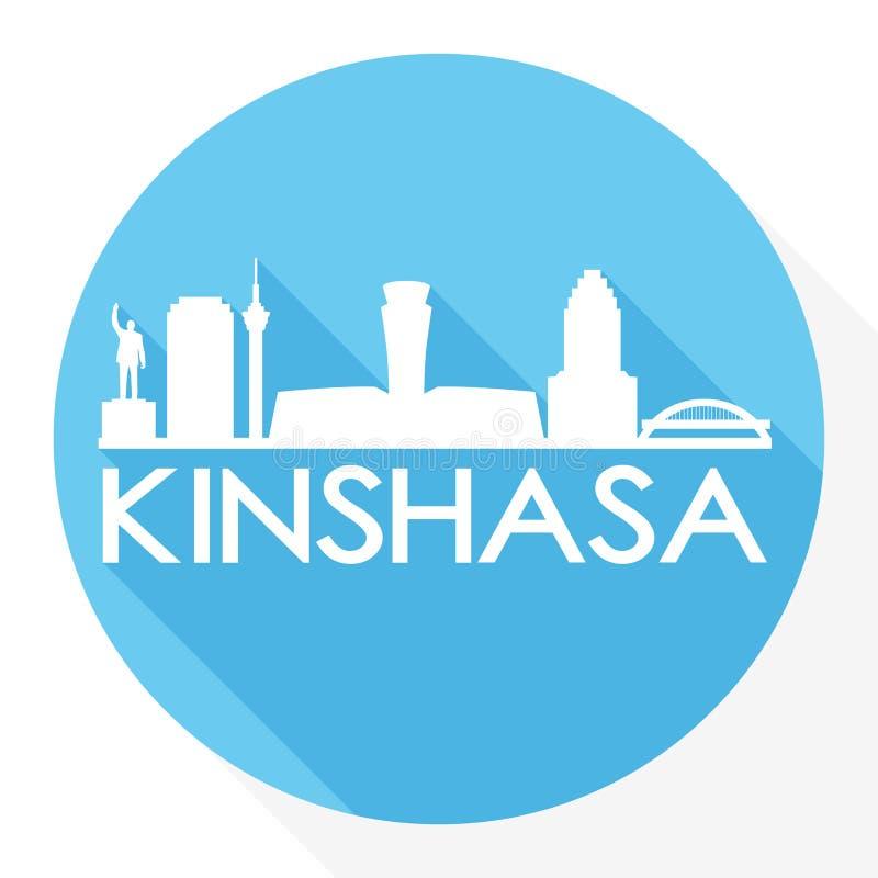 Logo rond de calibre de silhouette de ville d'Art Flat Shadow Design Skyline de vecteur d'icône de Kinshasa Congo illustration de vecteur