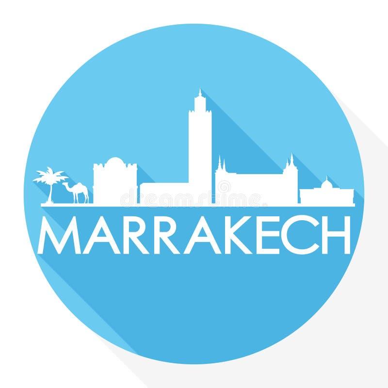 Logo rond de calibre de silhouette de ville d'Art Flat Shadow Design Skyline de vecteur d'icône de Marrakech Maroc Afrique illustration de vecteur