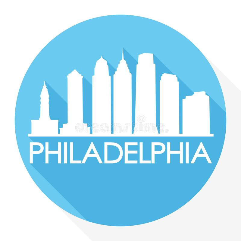Logo rond de calibre de silhouette de ville d'Art Flat Shadow Design Skyline de vecteur d'icône de PA Etats-Unis d'Amérique Etats illustration de vecteur