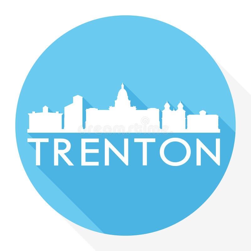 Logo rond de calibre de silhouette de ville d'Art Flat Shadow Design Skyline de vecteur d'icône de Trenton New Jersey Capital Eta illustration de vecteur