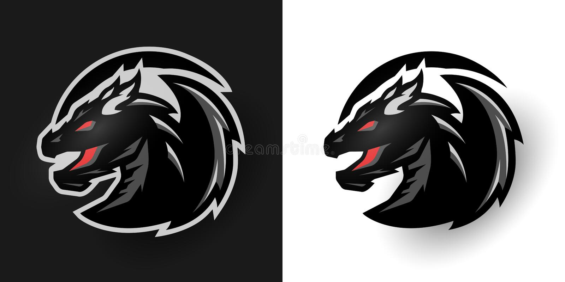 Logo rond de dragon Deux options illustration libre de droits