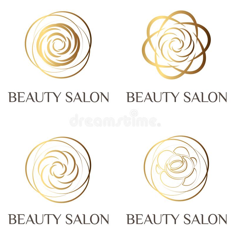 Logo rose féminin de beauté, signe, symbole pour le salon de beauté, salon de mode, salon de station thermale, fleuriste Style mo illustration stock
