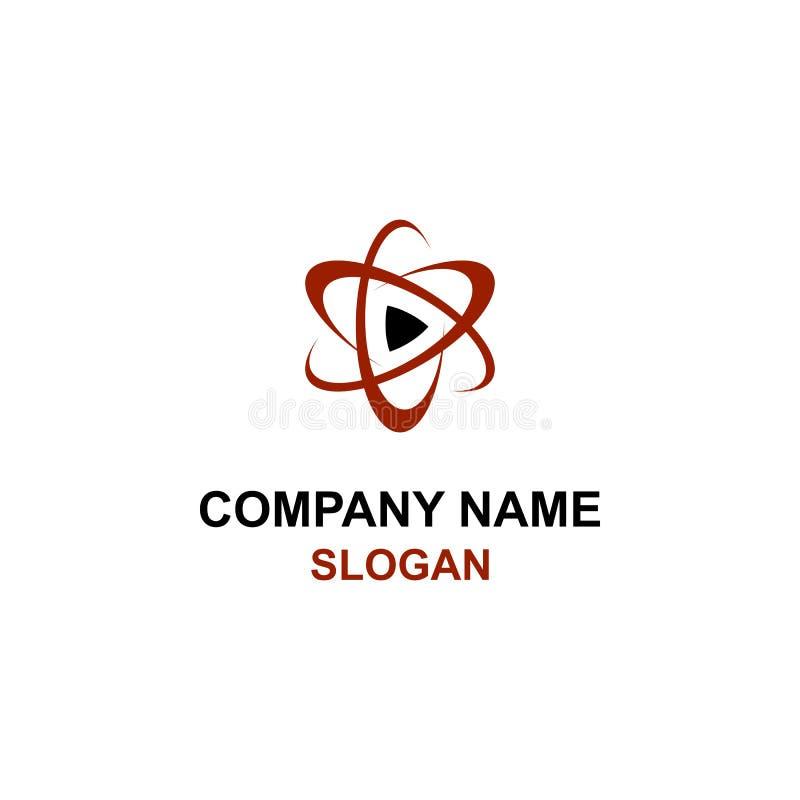 Logo rosso del tasto di riproduzione del mondo illustrazione di stock