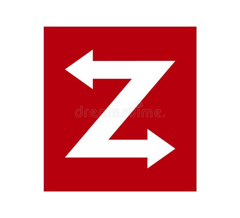 Logo rosso della lettera dell'importazione Z dell'esportazione con le frecce direzionali illustrazione di stock
