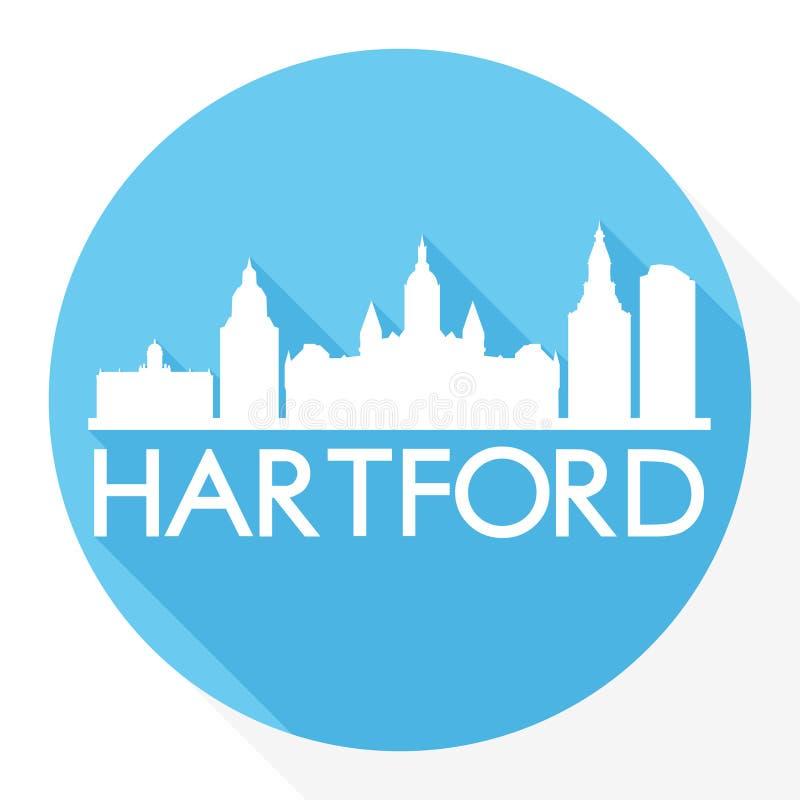 Logo rotondo capitale del modello della siluetta della città di Art Flat Shadow Design Skyline di vettore dell'icona di Hartford  illustrazione vettoriale