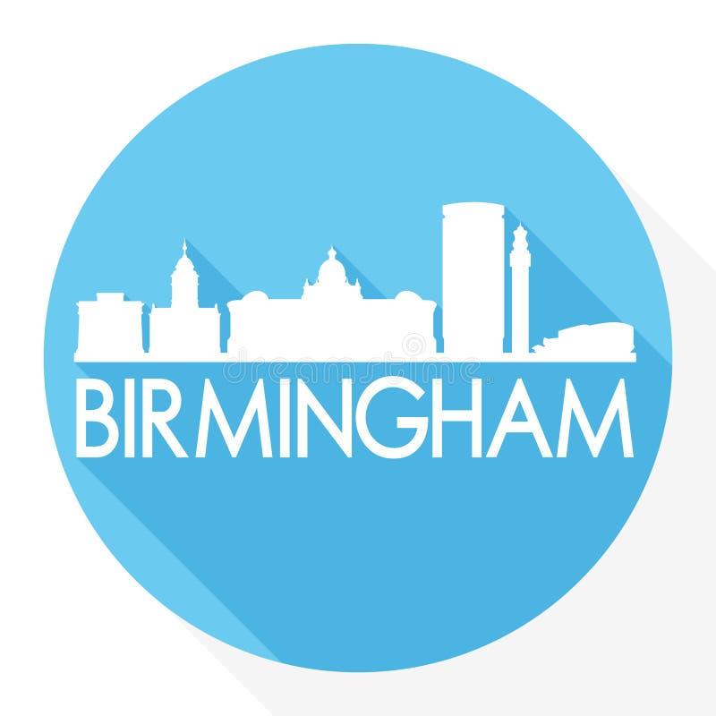 Logo rotondo del modello della siluetta della città di Art Flat Shadow Design Skyline di vettore dell'icona di Birmingham Inghilt illustrazione di stock
