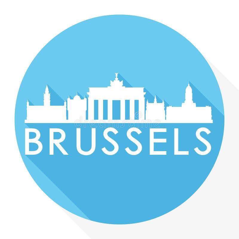 Logo rotondo del modello della siluetta della città di Art Flat Shadow Design Skyline di vettore dell'icona di Bruxelles Belgio royalty illustrazione gratis