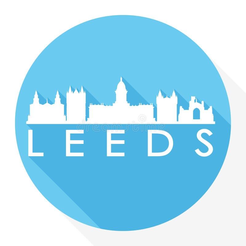 Logo rotondo del modello della siluetta della città di Art Flat Shadow Design Skyline di vettore dell'icona di Leeds Inghilterra royalty illustrazione gratis