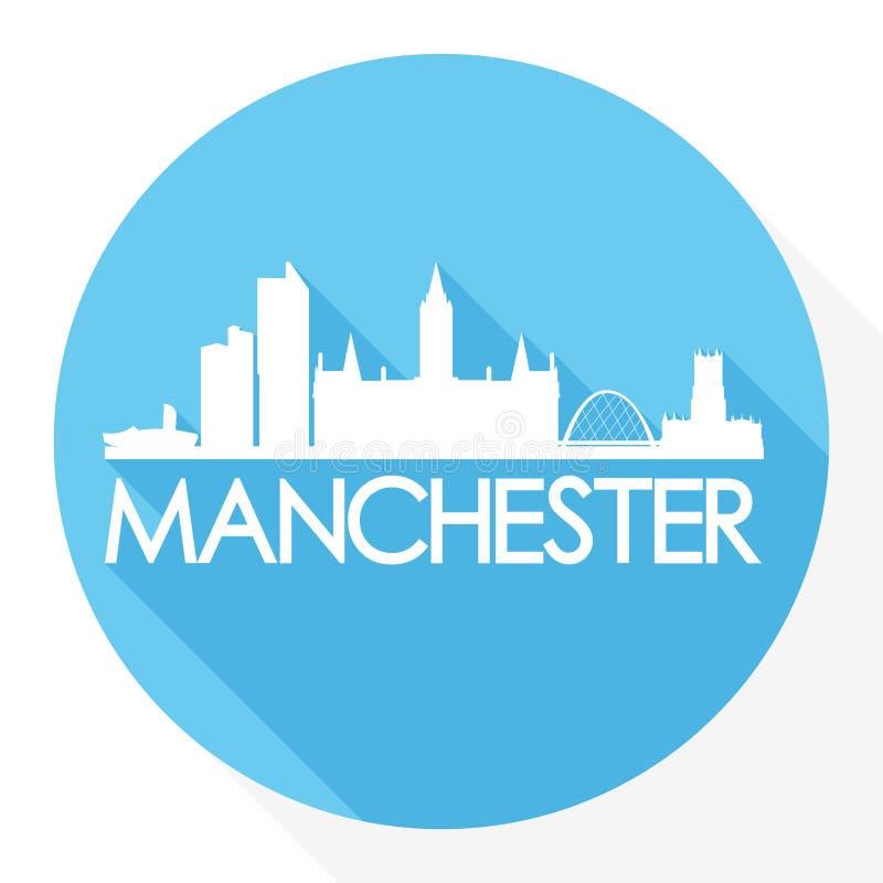 Logo rotondo del modello della siluetta della città di Art Flat Shadow Design Skyline di vettore dell'icona di Manchester Inghilt illustrazione di stock