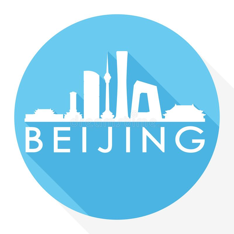 Logo rotondo del modello della siluetta della città di Art Flat Shadow Design Skyline di vettore dell'icona di Pechino Cina Asia illustrazione vettoriale