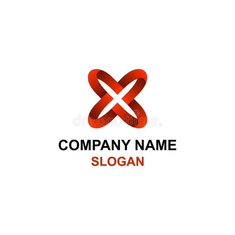 Logo rouge abstrait d'initiale de lettre de X illustration stock