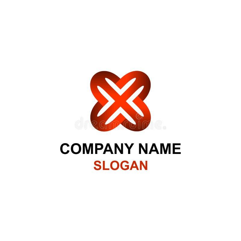 Logo rouge abstrait d'initiale de lettre de X illustration libre de droits