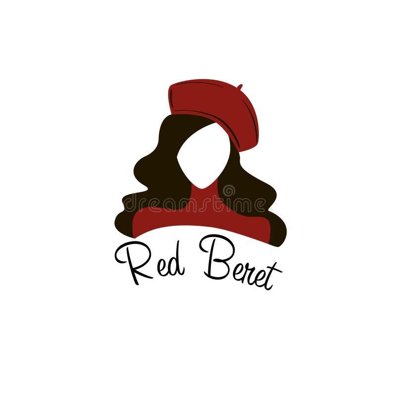 Logo rouge de visage de femme de béret illustration de vecteur