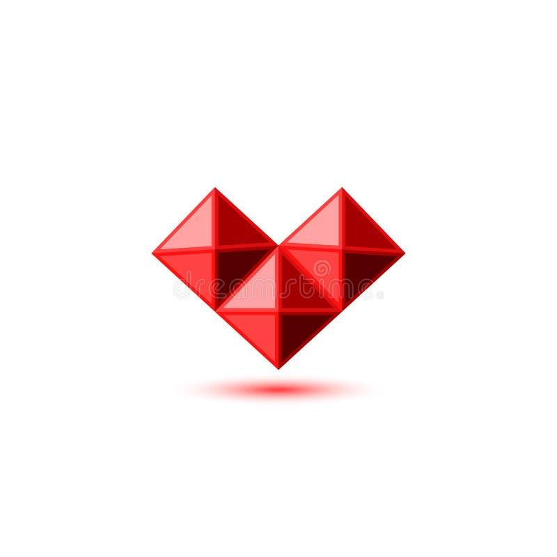 Logo rouge rouge en cristal de coeur dans le style facetté par pierre gemme forme géométrique de trois pyramides 3d avec l'ombre  illustration stock