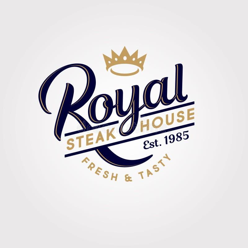 Logo royal de grill Logo de boucherie ou de restaurant Composition calligraphique avec la couronne illustration libre de droits