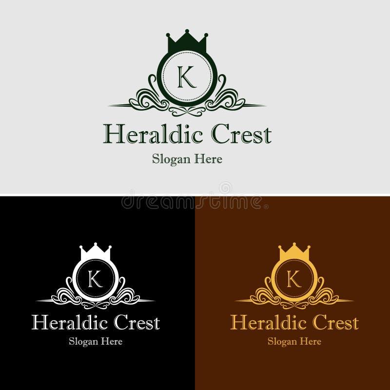 Logo royal héraldique de vecteur de crête photo stock
