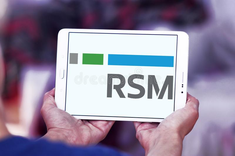 RSM US company logo. Logo of RSM US company on samsung tablet. RSM US LLP is an audit, tax, and consulting firm, focused on the middle market in the United stock image