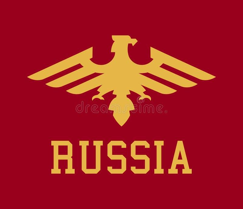 Logo Russia, el águila orgullosa, heráldica Ejemplo del vector, un estilo plano ilustración del vector