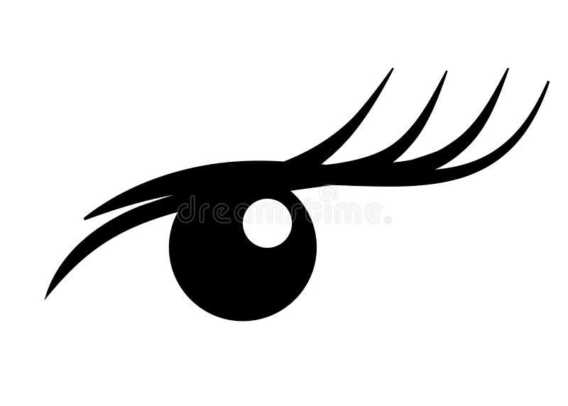 Logo rzęsy rozszerzenie Piękny makijaż Tusz do rzęs dla pojemności i długości royalty ilustracja