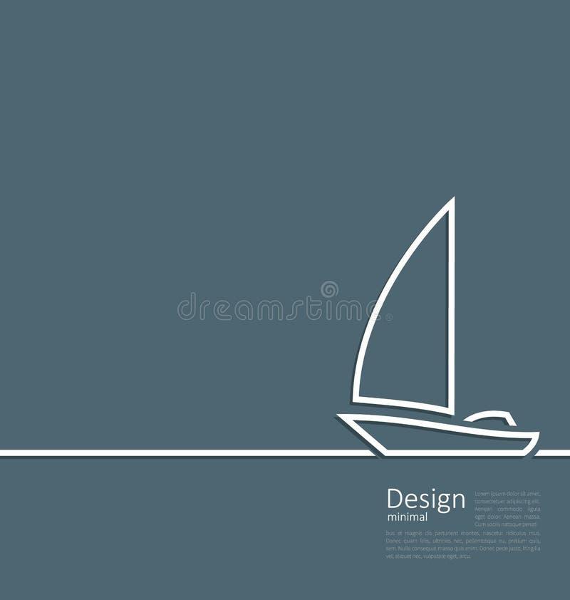 Logo of sailboat in minimal flat style line. Illustration logo of sailboat in minimal flat style line - vector stock illustration