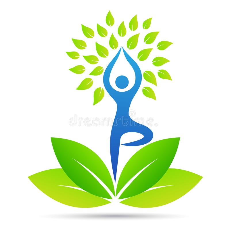 Logo sano di benessere di vita dell'albero della gente di posa di yoga royalty illustrazione gratis